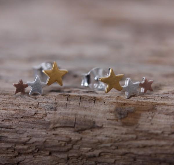 Ohrstecker 3er Reihe Sterne multi colour