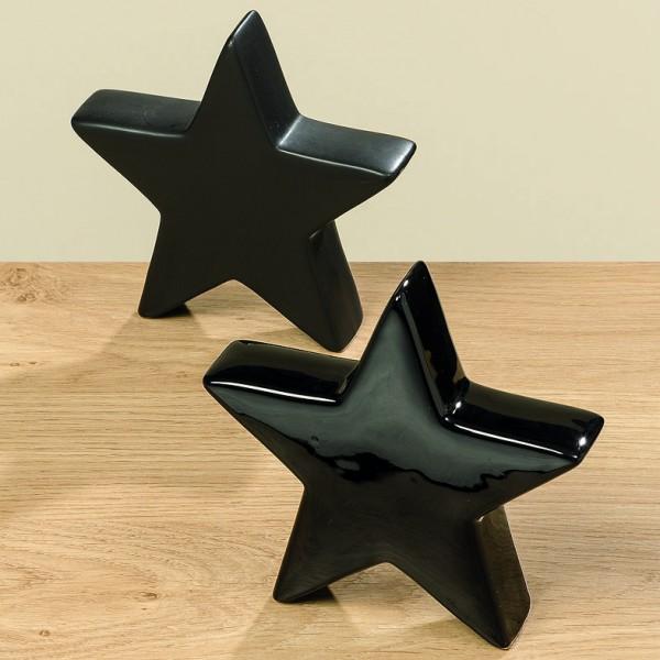 Dekoaufsteller Stern in schwarz, 14 cm, matt oder glänzend