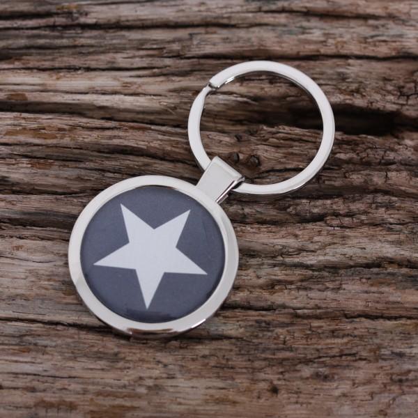 Schlüsselanhänger Stern grau
