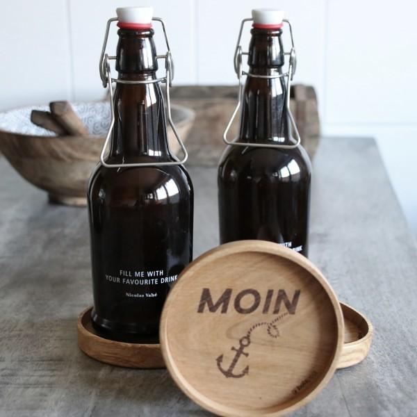 Holzuntersetzer Moin