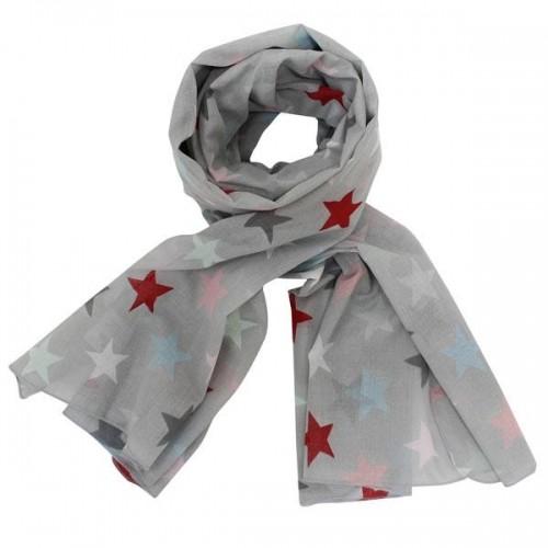 Krasilnikoff Tuch / Schal in grau mit bunten Sternen