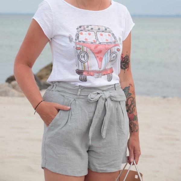 Paperbag Shorts Leinen hellgrau