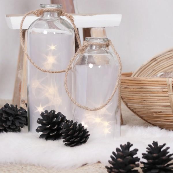 LED Flasche mit Sternen groß 31 cm hoch