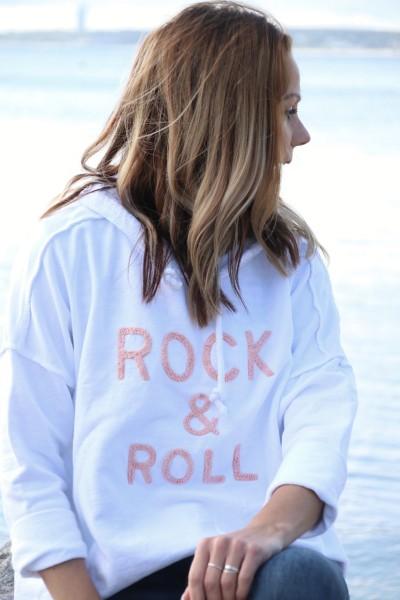 Hoodie Rock & Roll weiß