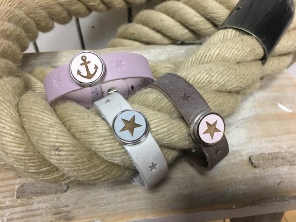 Armband beere / rosa mit eingestanzten Sternen für großen Druckknopf