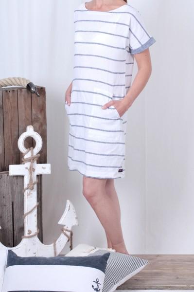 Leinenkleid weiß mit jeansblauen Streifen