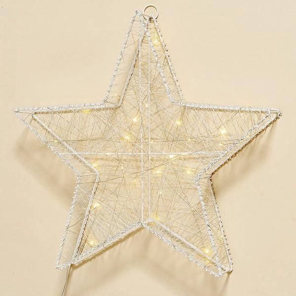 LED Stern weiß 40 cm mit 40 LEDs mit Timer