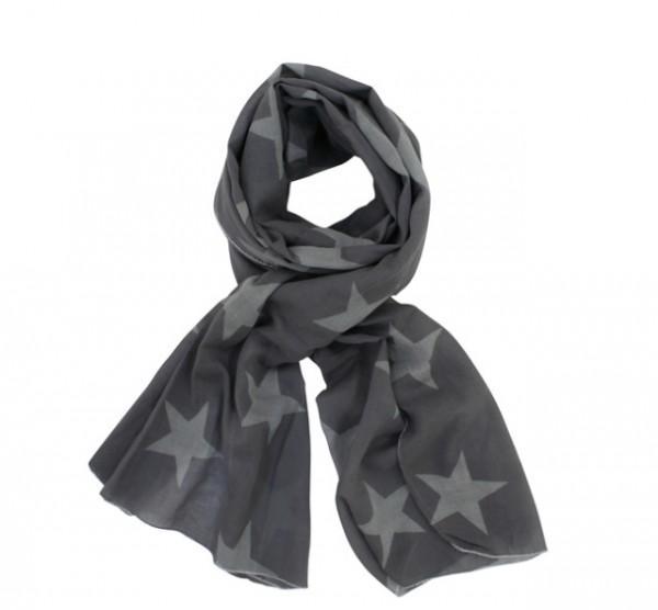 Krasilnikoff Tuch / Schal in grau mit hellgrauen Sternen