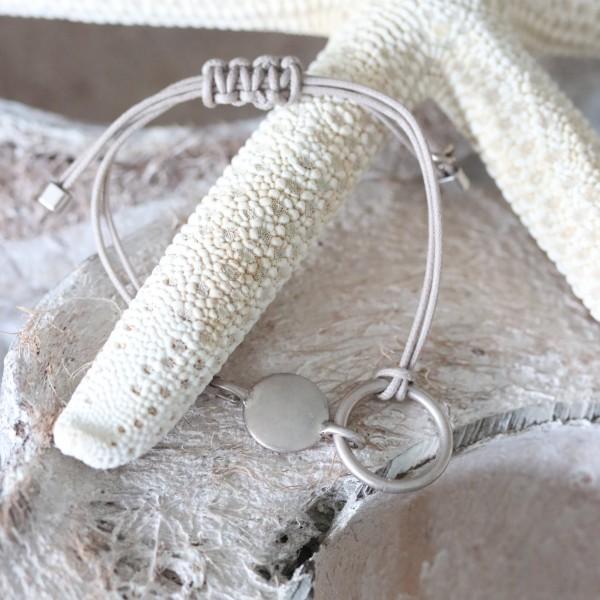 Hultquist Armband Leder beige/rosé mit einem Ring und rosé Element