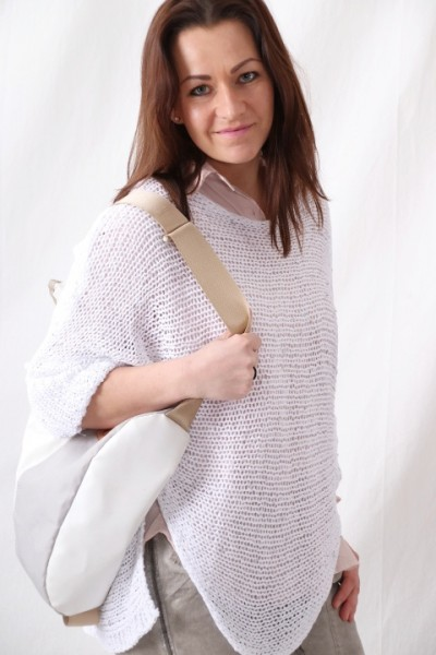 Grobstrick Pullover mit Lurexfaden weiß