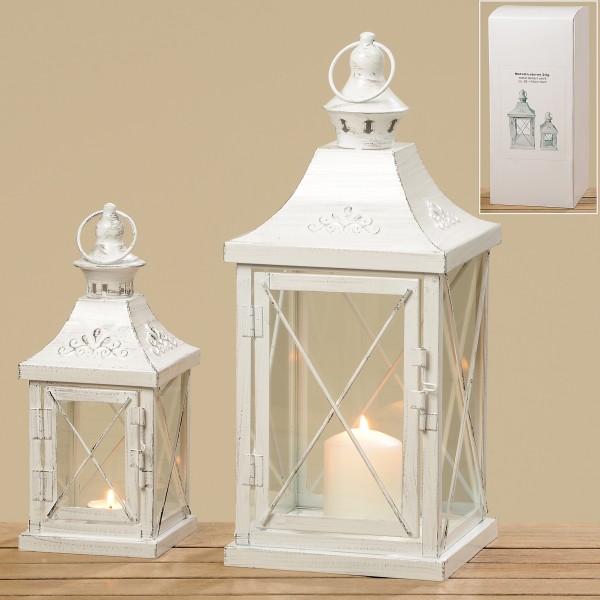 2 tlg. Laterne Set Shabby weiß aus Eisen und Glas, 26 und 40 cm hoch