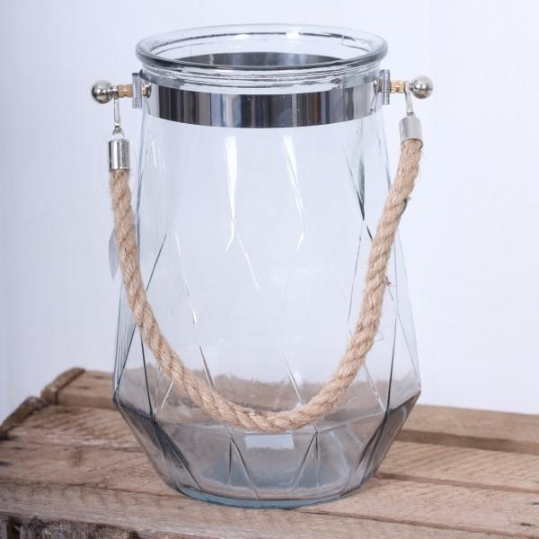 Großes Windlicht/Vase mit Kordel und Rautenmuster