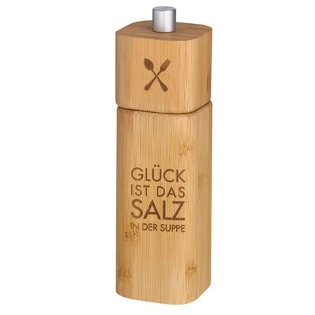 """Räder Salzmühle """" Glück ist das Salz der Suppe"""" Höhe 15 cm"""