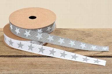 Geschenkband Sterne grau oder weiß 5m