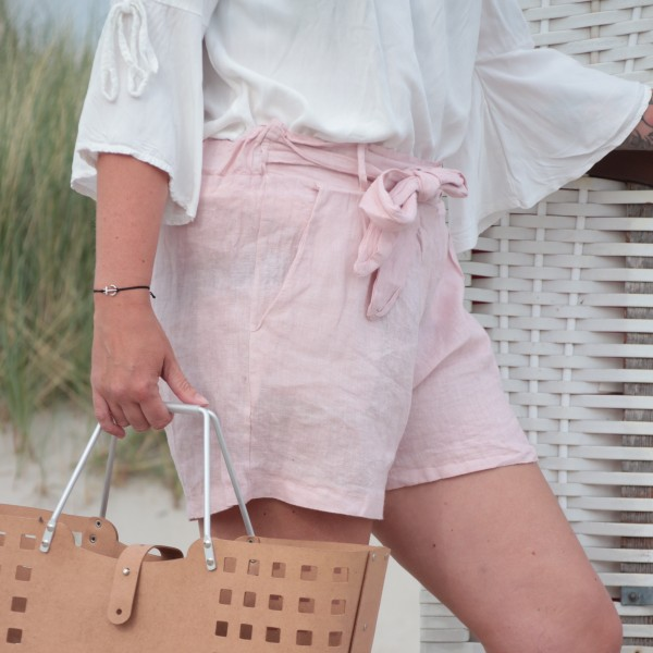 Paperbag Shorts Leinen rosa