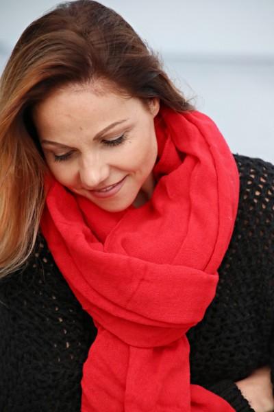 Leichter Baumwoll Schal in rot