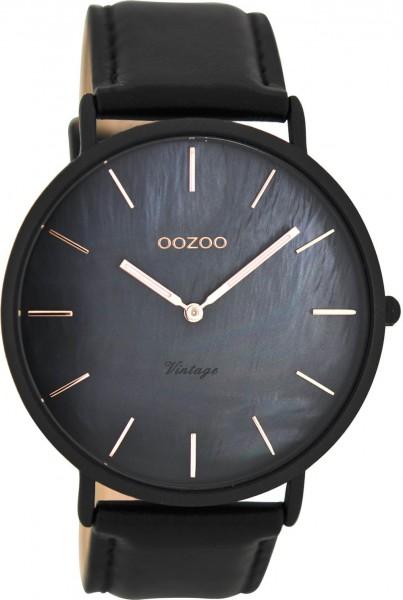 Oozoo Damenuhr mit Lederband perlmutt schwarz 44MM C8134