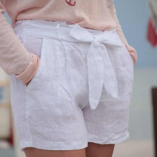 Paperbag Shorts Leinen weiß