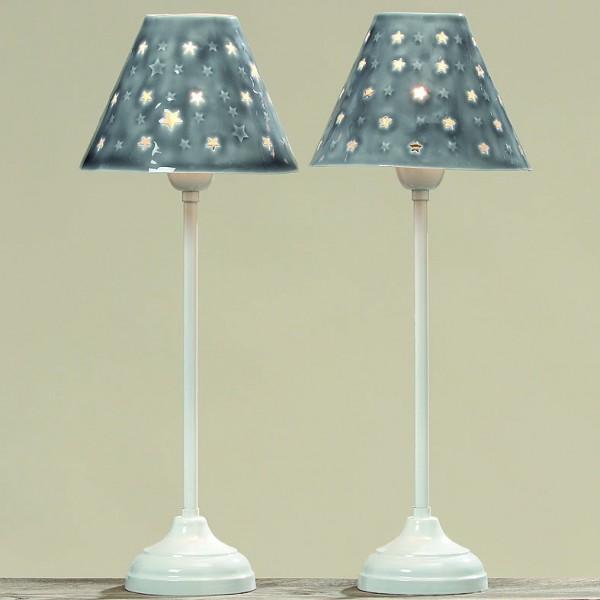 Lampe Anno grau beschichtet mit Sternen 52cm hoch, 2 Varianten