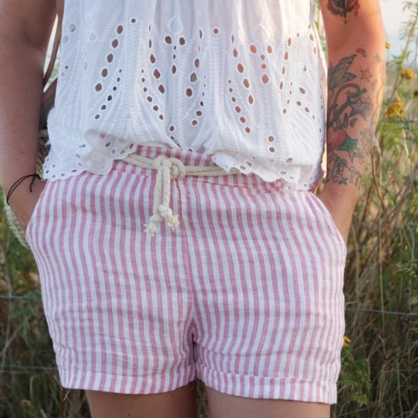 Shorts Leinen rot weiß gestreift