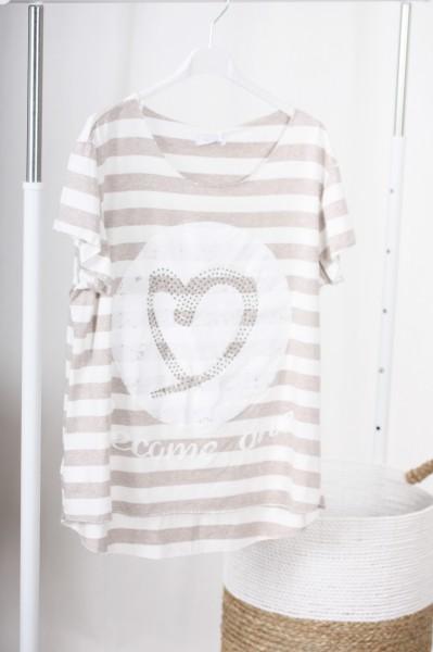T Shirt Streifen & Herz beige
