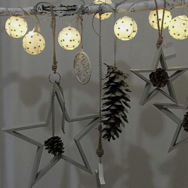 LED Lichterkette Lampions weiß mit Sternen L 165 cm