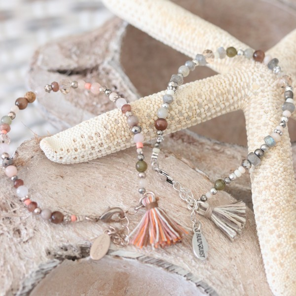 Hultquist Armband Perlen in altrosa, rosé und taupe mit Quaste