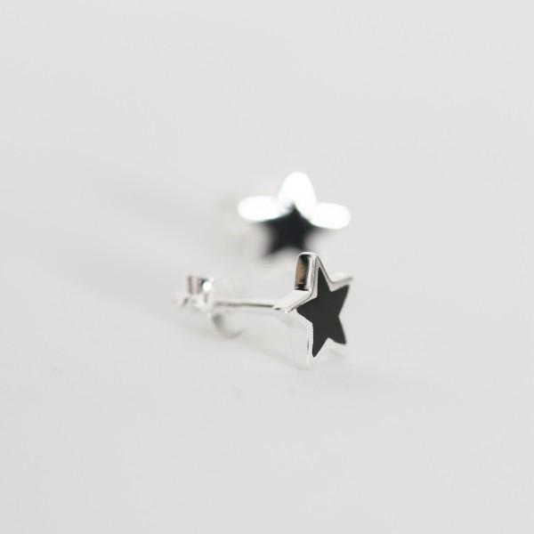 Ohrstecker Stern Onyx/schwarz