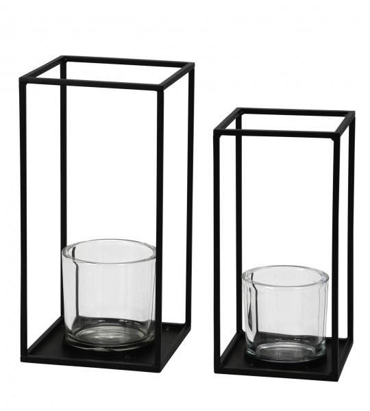 Kerzenhalter aus Metall schwarz mit Glaseinsatz 2 Grössen