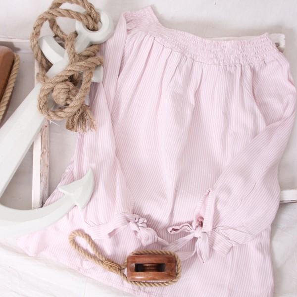 Carmenbluse zarte Streifen & Schleifen rosa