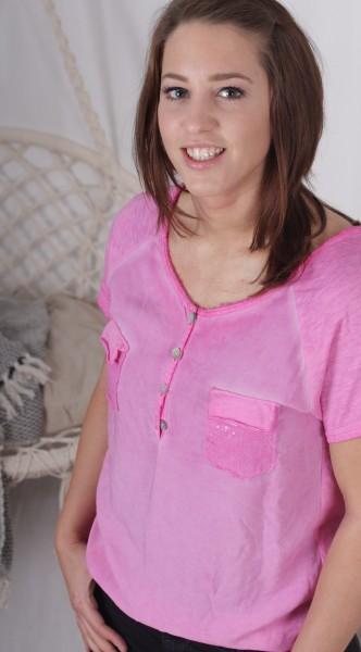 T Shirt Paillettentasche pink