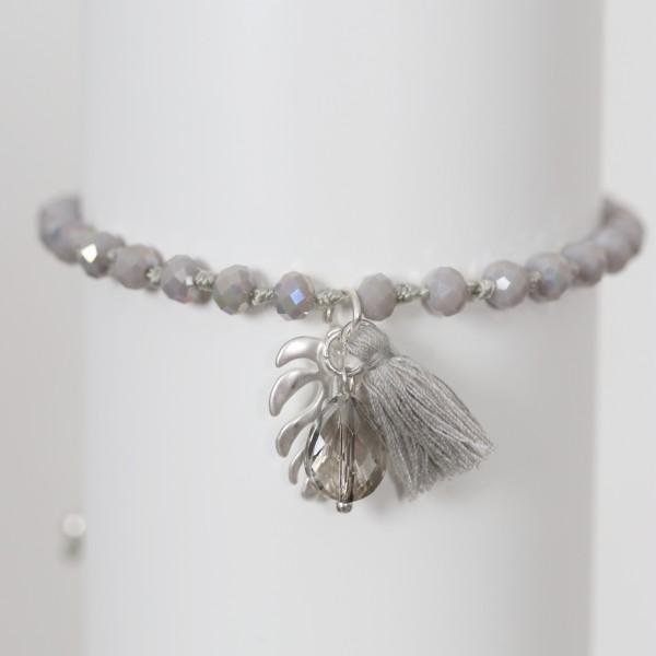 Biba Perlenarmband mit Quaste,Blatt und Stein in grau taupe