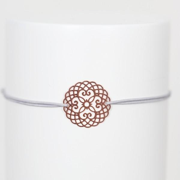 Freundschaftsbändchen/Glücksbändchen Gummi grau mit Mandala rosé