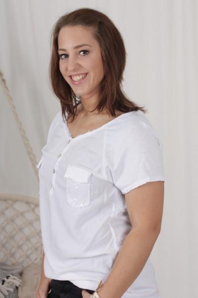 T Shirt Paillettentasche weiß