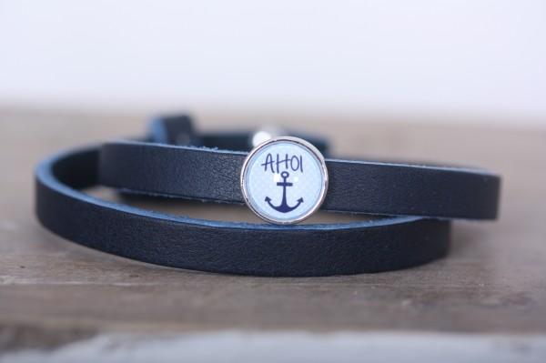 Armband doppelt gewickelt blau für Schiebeperlen