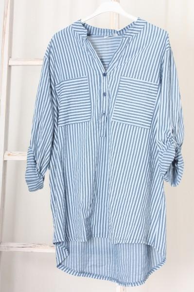 Tunika / Longbluse schmal gestreift jeansblau weiß