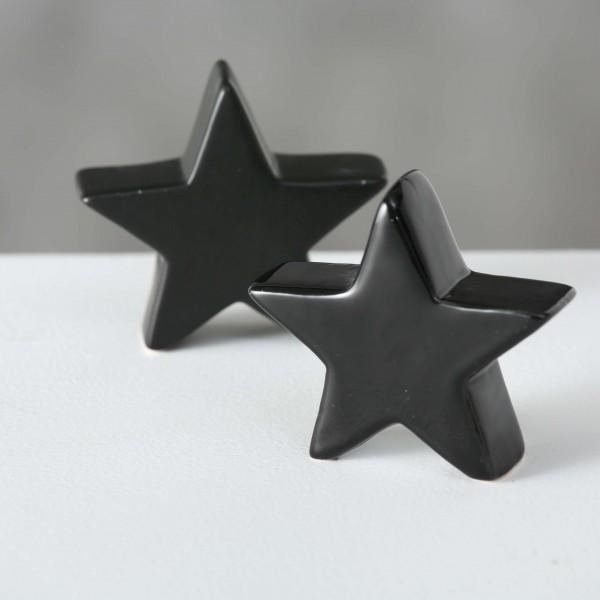 Dekoaufsteller Stern in schwarz, 7 cm, matt oder glänzend