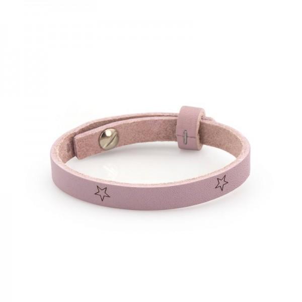 Armband einfach gewickelt rosa mit Sternen für Schiebeperlen