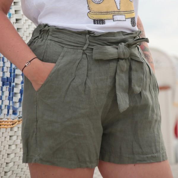 Paperbag Shorts Leinen Khaki