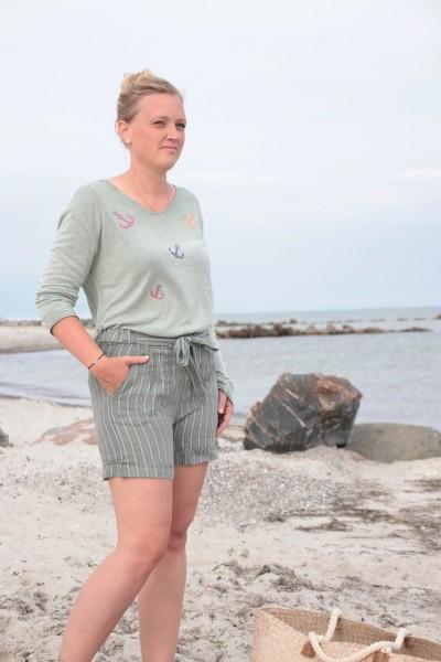 Paperbag Shorts Leinen Khaki mit Streifen