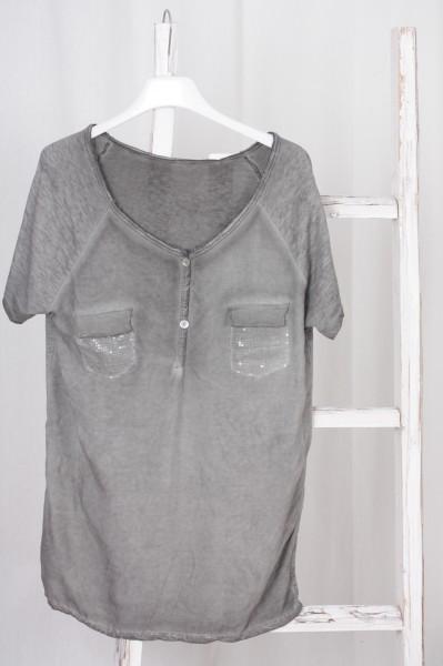 T Shirt Paillettentasche grau