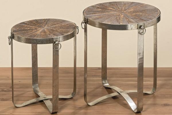 Tisch Industrial aus Eisen mit Holzplatte Höhe 50 cm