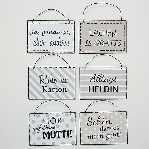 Metallschild vintage sechs witzige Sprüche 13 x 9 cm