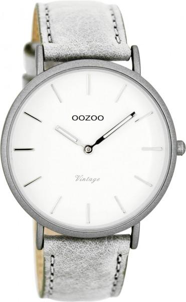 OOZOO Vintage Ultra Slim Leder 40 MM Silbergrau/Weiss/Grau C7736
