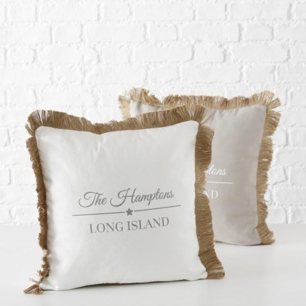 Kissen Hampton mit Fransen in weiß oder beige, 44x44cm
