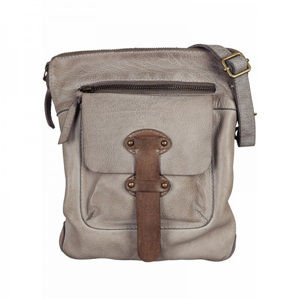 BULL&HUNT Ledertasche Messenger urban small grey