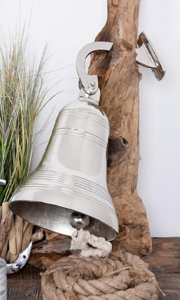 *NEU*: Schiffsglocke aus Aluminium, mit Tau, silber