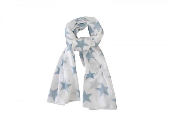 Krasilnikoff Tuch / Schal weiß mit hellblauen Sternen