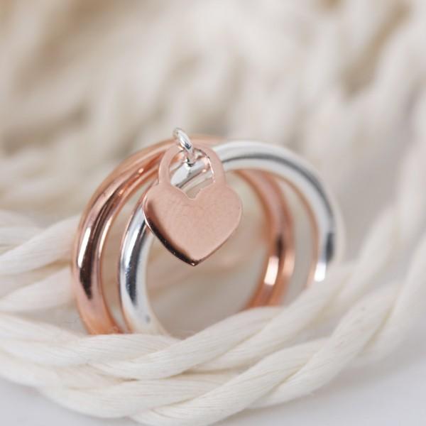 Ring silber 925er mit Herzchen rosé Gr. 50-60