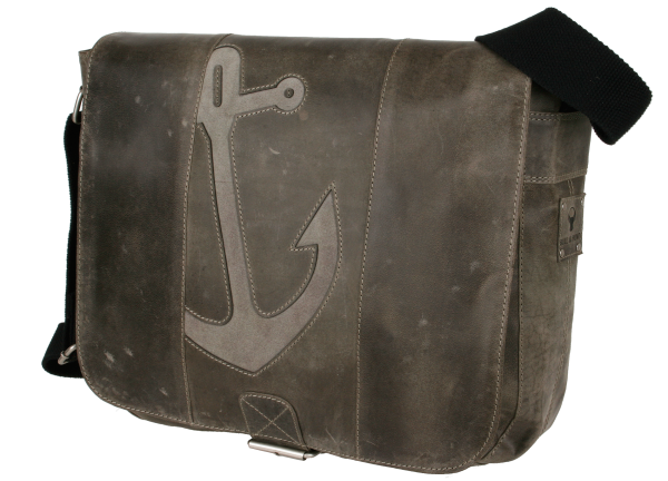 Ledertasche groß in grau mit Anker